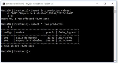 Comandos básicos de Mysql desde consola Windows