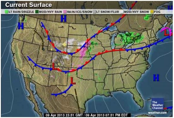 Stationary Front On A Weather Map.Tonya S Daily Weather Blog 2013 April 2013