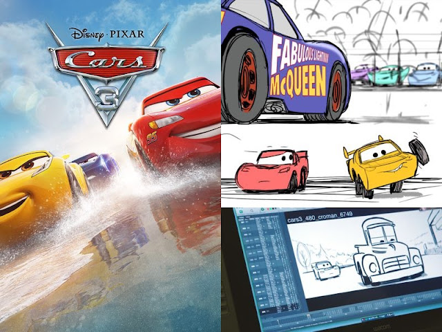 Cars 3 movie cover with screenshots of special features