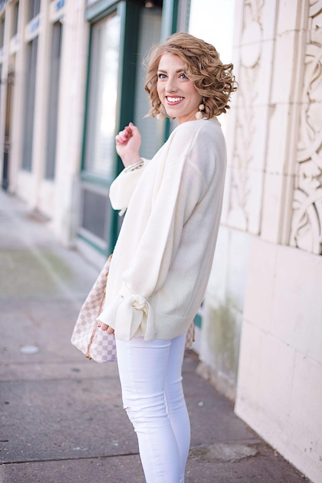 Ivory Tie Sleeve Cardigan  - See more on Something Delightful Blog