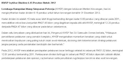 KWSP Isytihar Dividen 6.15 Peratus Untuk 2012