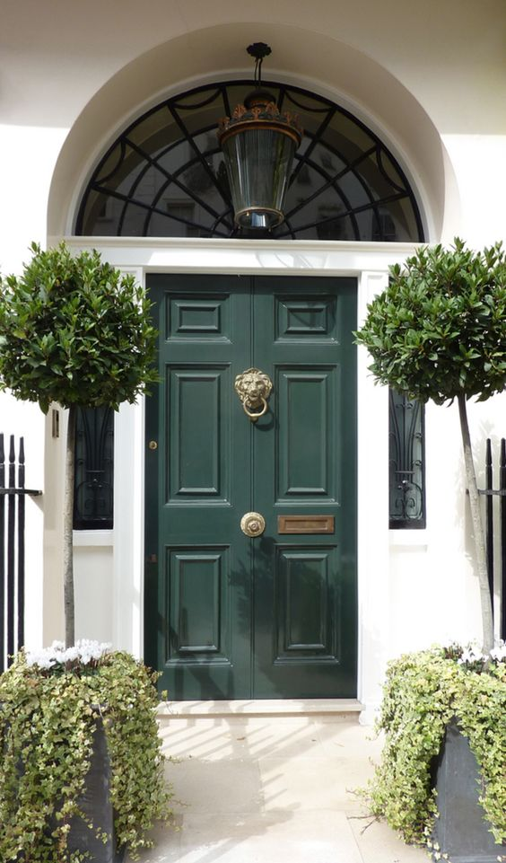 Dark green painted front door