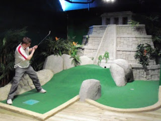 Playing the Jungle Rumble Adventure Golf course in Liverpool