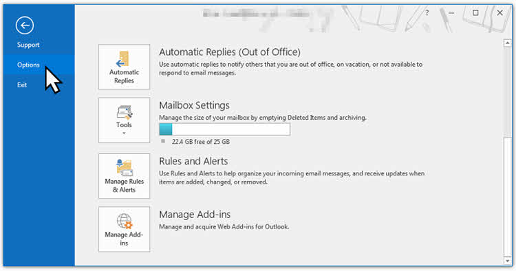 Navigate to File | Options in Outlook client