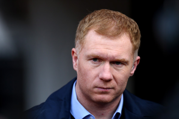 Ex Manchester United player Paul Scholes working for BT Sport prior to The Emirates FA Cup Sixth Round match between Manchester United and West Ham United at Old Trafford on March 13, 2016 in Manchester, England