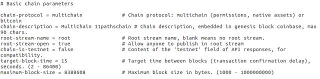 Parámetros de configuración de 11pathschain.  image