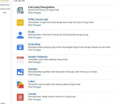 Menambah Gadget pada blogger