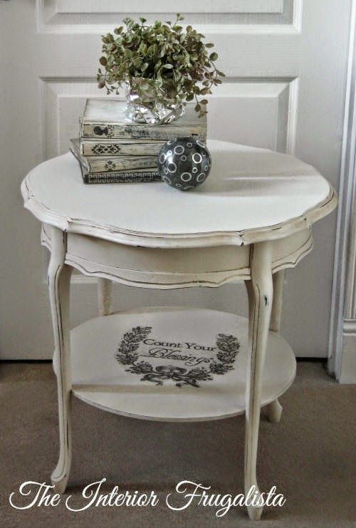 Round French Provincial Side Table After Makeover