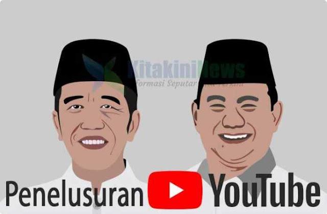 Trend Penelusuran Youtube : Popularitas Jokowi Kalah dari Prabowo