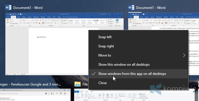 Cara Pin Suatu Jendela di Semua Desktop Windows 10 3