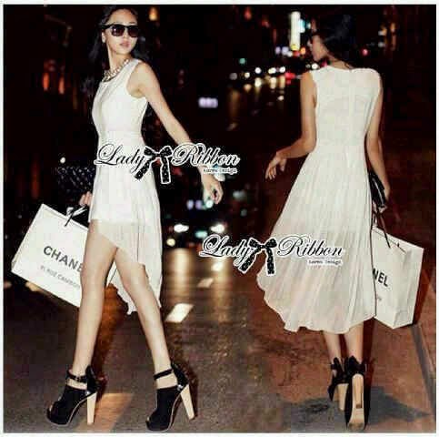 Dress lady ribbon white
