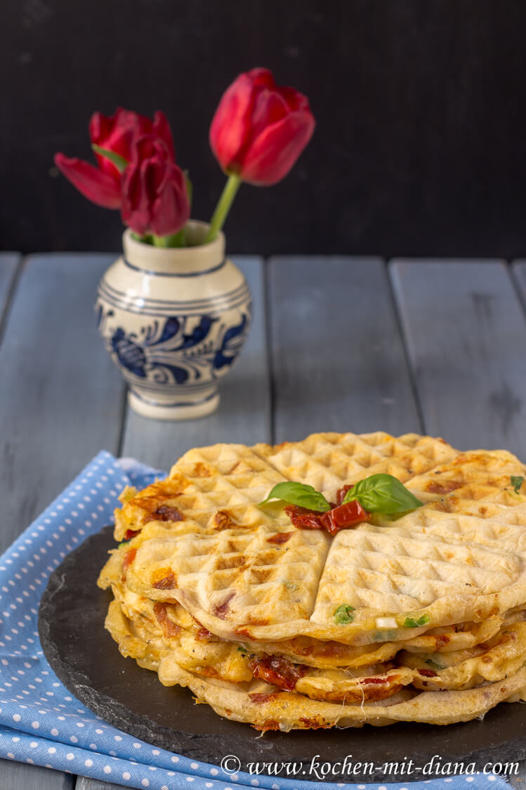 Tomato-mozzarella-basil waffles