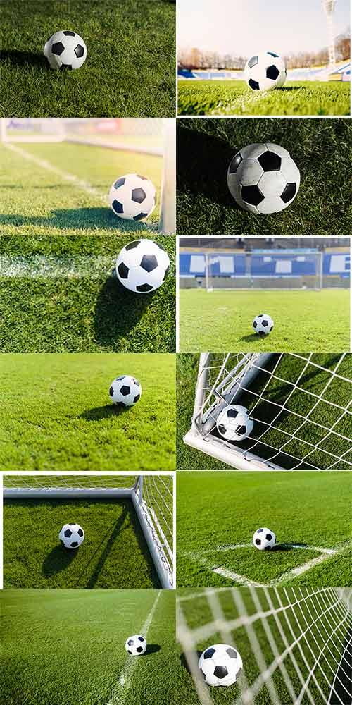 12 صورة عالية الجودة لكرة القدم في المرمى والملعب