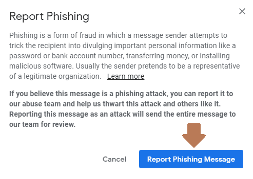 Report phishing message