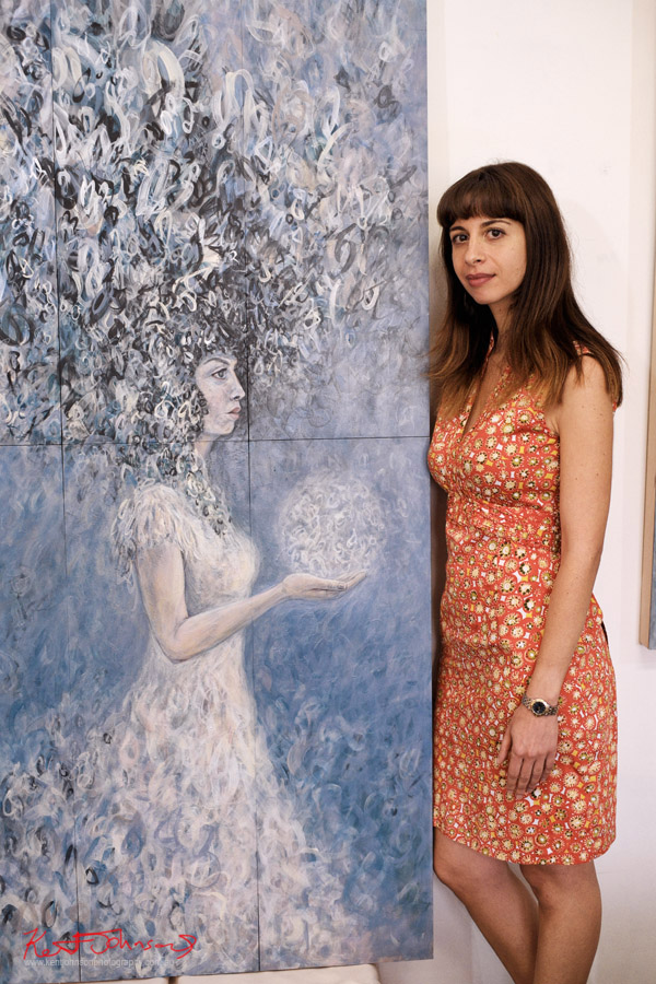 Rita Karagelinian painter - Artist portrait by Kent Johnson, Lennox St Artists Studios, Newtown Sydney Australia.