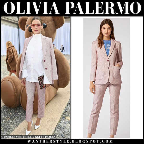 Olivia Palermo in pink printed jacket and pants max and co and white pumps milan fashion week outfit september 20