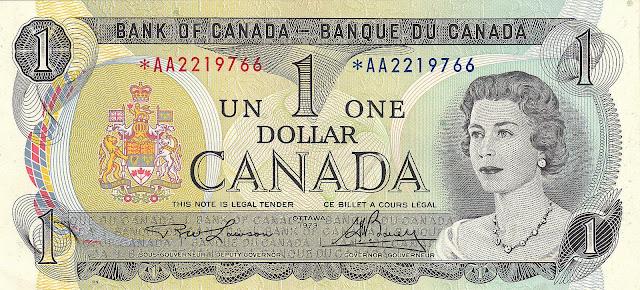 Canadian Banknotes One Dollar banknote 1973 Queen Elizabeth II