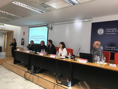 Maribel Campo, Federico Morales, José María Velarde, Beatriz Alcántara y Miguel Díaz; junto con una intérprete de lengua de signos.