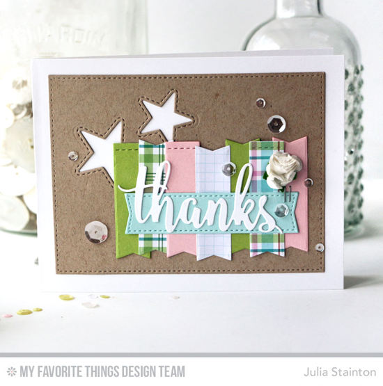 Handmade card from Julia Stainton featuring Inside & Out Stitched Stars, Thanks & Hello, Blueprints 20, and Blueprints 29 Die-namics #mftstamps