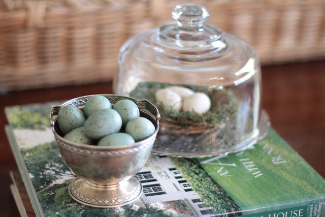 spring-tour-nest-eggs-coffee table spring easter decor