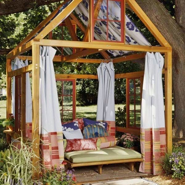 18.) Get some neighborly help and build a simple gazebo for everyone to enjoy. - These 29 Do-It-Yourself Backyard Ideas For Summer Are Totally Awesome. Definitely Doing #10!
