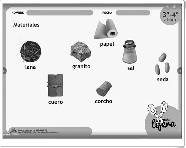 """""""Origen de los materiales"""" (Fichas de recortables de Ciencias Naturales de Primaria)"""