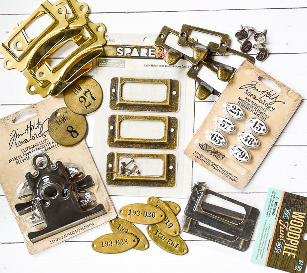 metal label holder, metal pulls, vintage, locker tags