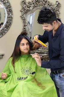 Krystal D souza having hair coloring and hair cut at Kashee's beauty parlor,