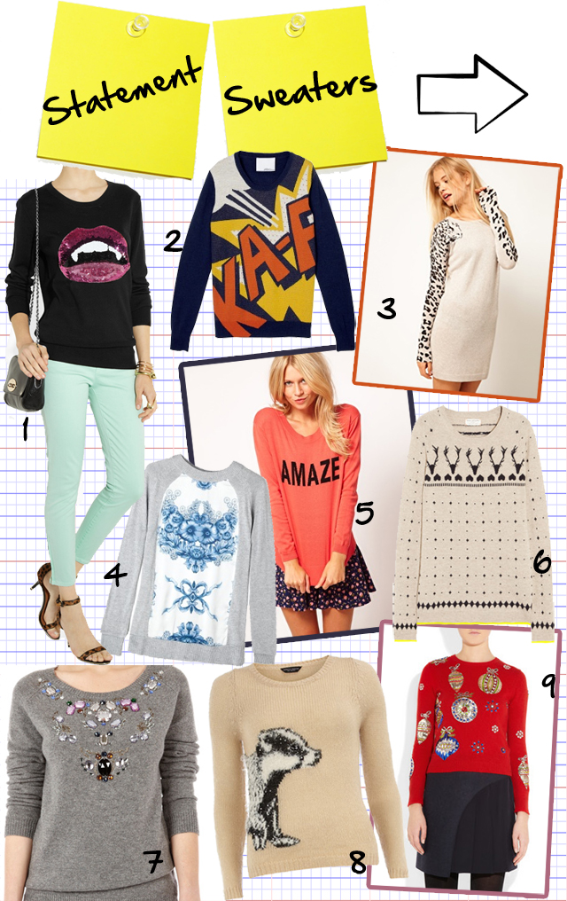 Shopping statement sweaters