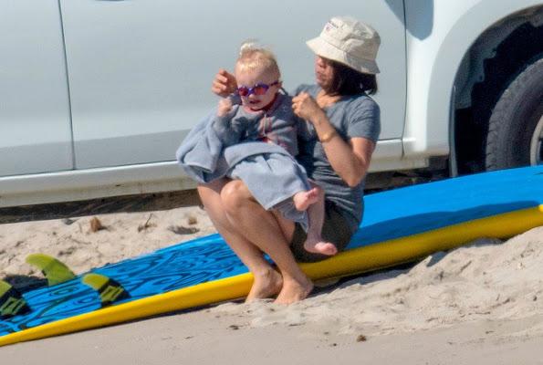 Princess Charlene  Princess Gabriella and Crown Prince Jacques in Corsica beach