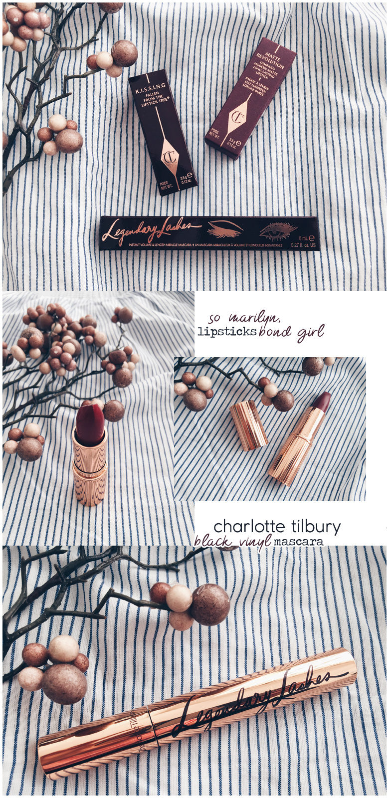 charlotte tilbury beauty products, legendary lashes mascara, so marilyn and bond girl lipsticks, review