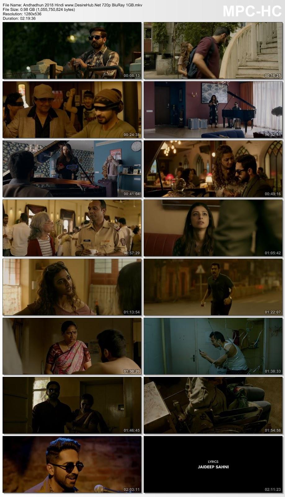 Andhadhun 2018 Hindi 720p BluRay 1GB Desirehub