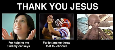 Funny Prayer Joke Picture -  Thank you Jesus - for helping me find my car keys - for letting me throw that touchdown - starving child in Africa says nothing