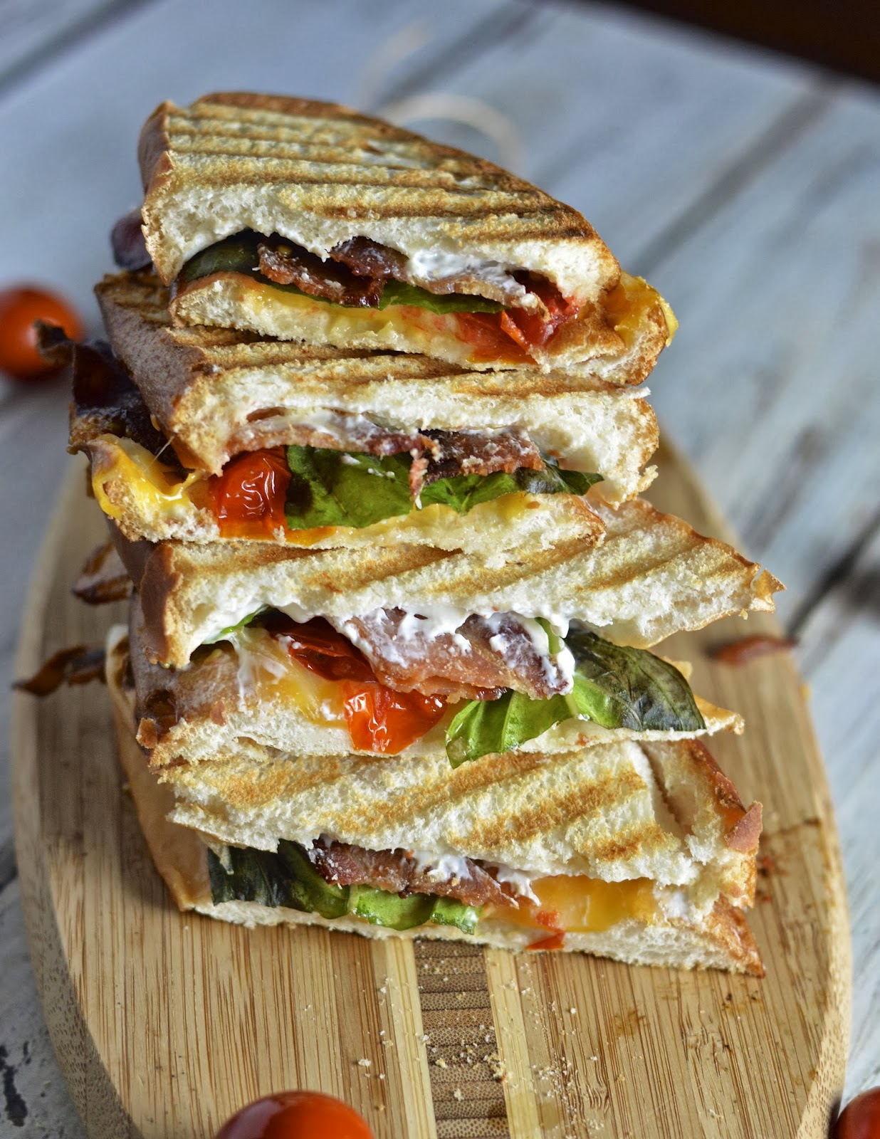 Creamy Roasted Tomato Basil Grilled Cheese with Bacon ...