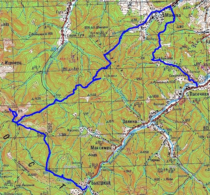 Карта маршрута Надворная-Букове-Манява-Сивуля-Быстрица