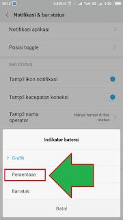 Mengaktifkan Persen Baterai di Xiaomi 3