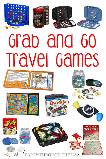 collage of store-bought travel games