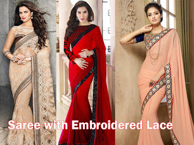 Embroidery lace sarees Saree with embroidered laces