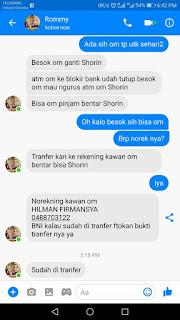 Awas !! Modus Penipuan Pinjam Uang Dari FB Teman Yg Kena HACK