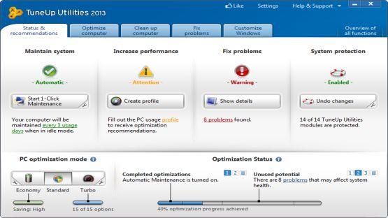 TuneUp Utilities 2013 screenshot 2