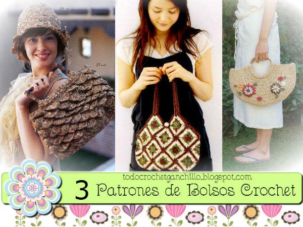 3 patrones de bolsos crochet
