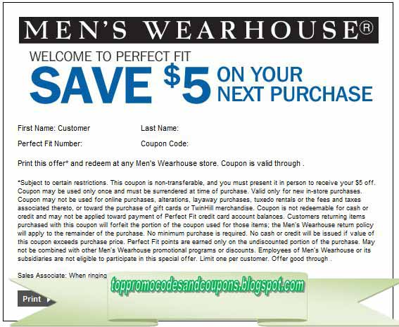 graphic regarding Mens Wearhouse Coupon Printable titled Totally free Promo Codes and Coupon codes 2019: Mens Wearhouse Discount coupons