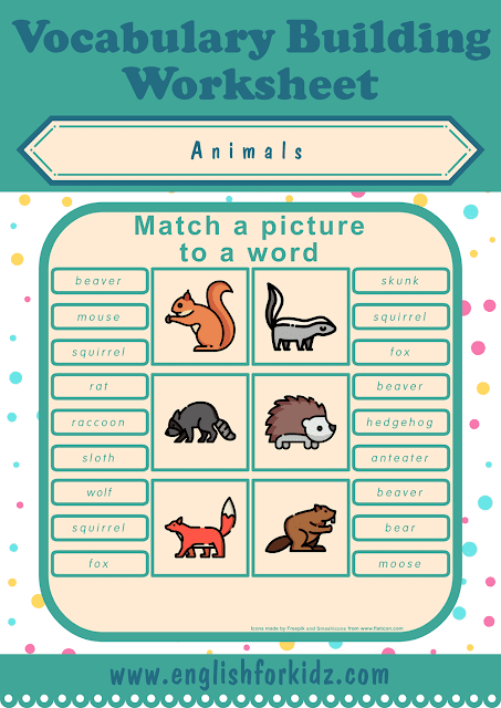 Forest animals worksheet - picture to word matching - free ESL printables