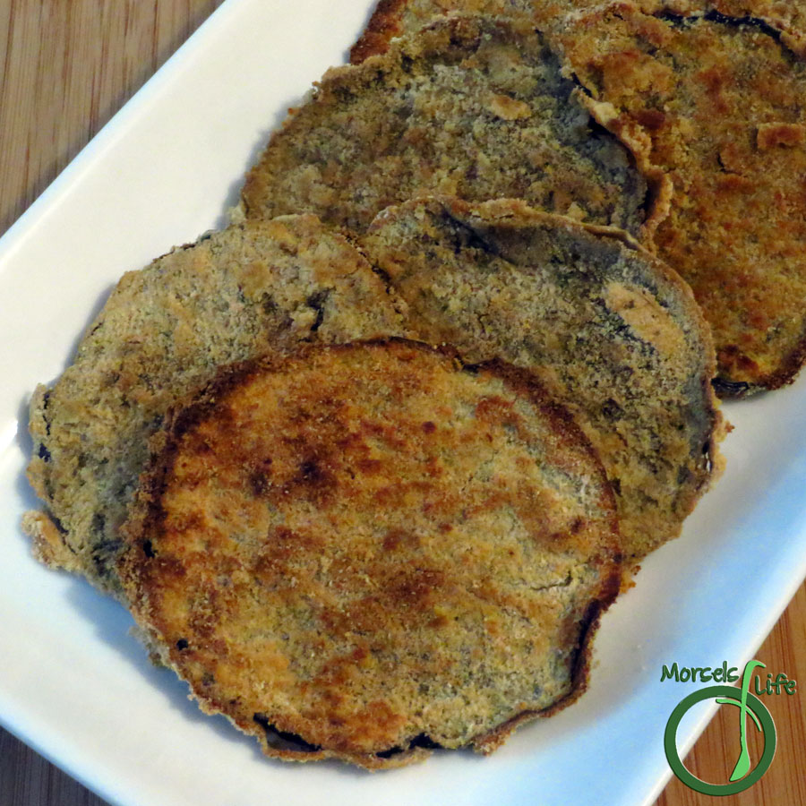Morsels of Life - Coconut Crusted Eggplant - Eggplant, dipped in an Asian-inspired sauce, then dredged in coconut flour and baked into crispy coconut crusted eggplant medallions.