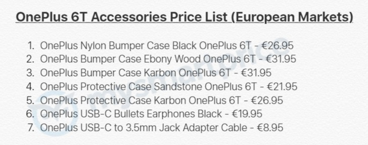 One Plus 6T accessories leaked
