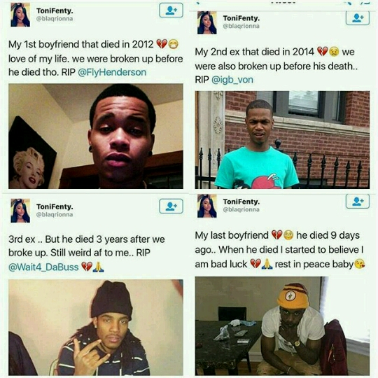 lady on twitter reveals she has 4 dead ex boyfriends