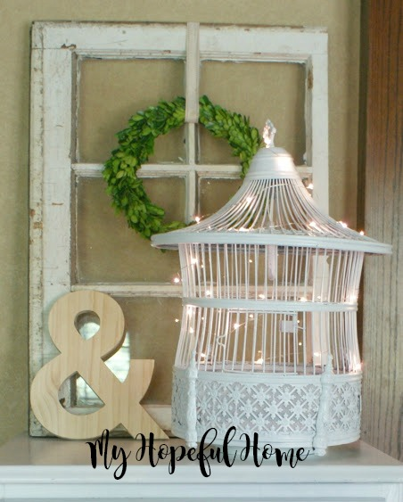 vintage white painted bird cage upcycle lights
