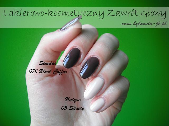 Semilac 076 Black Coffee Unique 05 Skinny Allepaznokcie hybrydy lakier hybrydowy manicure czekoladowy brązowy nude beżowy