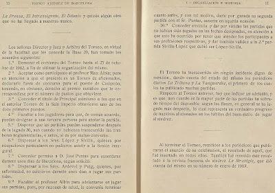 Páginas 10 y 11 del libro del Torneo de Ajedrez para el Campeonato de Barcelona de 1913
