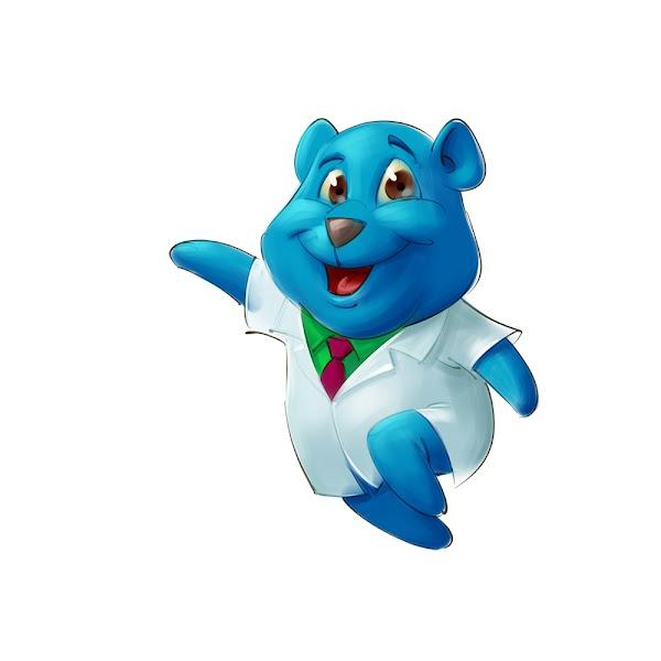 funny bear doctor health care mascot design cartoon concept sketch illustration